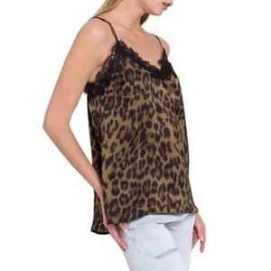 Endless Rose Clive Green Leopard Print Camisole